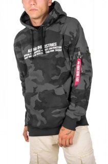 Alpha Industries Cargo rubber Print Hoody-black camo