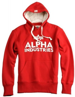 Alpha Industries Foam print hoody speed red